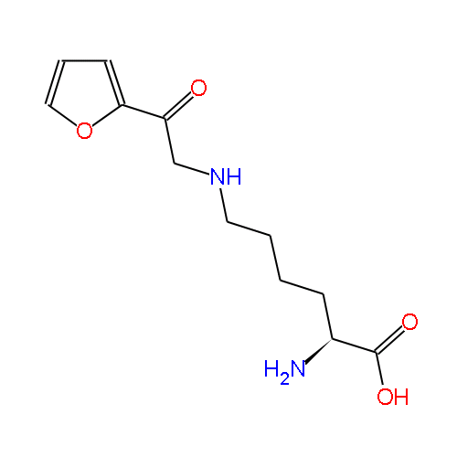 formed in foods by the reaction of glucose with the amino acid lysine.