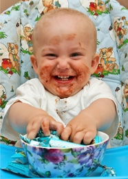 Russian kid eating chocolate